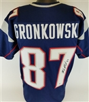 Rob Gronkowski Signed New England Patriots Custom Jersey (Beckett Witness COA)