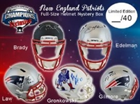 New England Patriots Full Size Helmet Mystery Box - 1 Autographed Helmet Per Box  - Limited to 40! Brady, Gronk, Edelman & More!