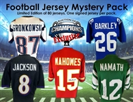 Football Jersey Mystery Pack - Mahomes, Lamar, Namath, Gronk, Saquon & More! Limited to 80! - 1 Autographed Jersey Per Pack