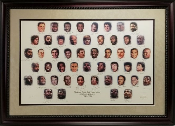 NBA 50 Greatest Players Litho Completely Signed & Framed - Jordan, Wilt, Russell & Many More *NBA Lmt Ed. #98/100* (JSA LOA)