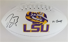 "Joe Burrow ""19 Champs"" Signed LSU Tigers Logo Football (Fanatics Certified)"