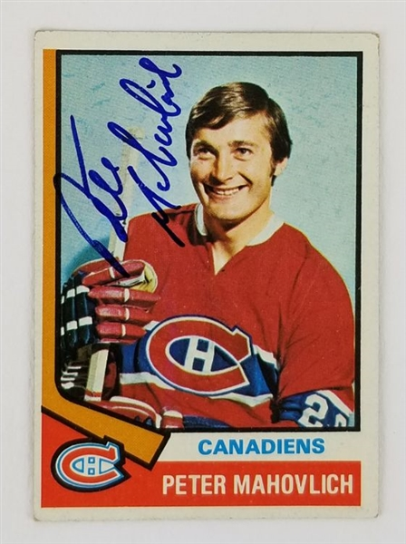 Peter Mahovlich Montreal Canadiens Signed 1974 Topps Hockey Card #97 (JSA COA)