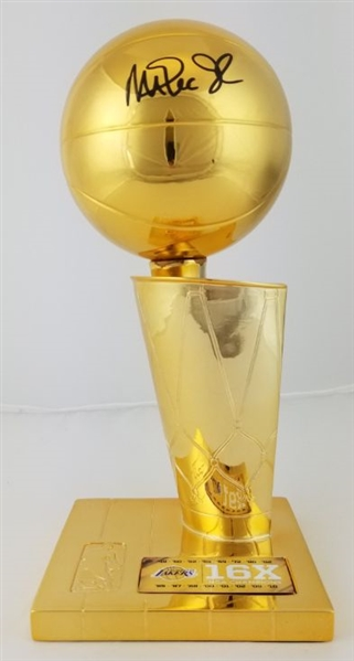 Magic Johnson Signed Replica Gold Larry OBrien Championship Trophy (Beckett Witness COA)