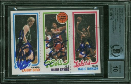 Larry Bird, Julius Erving & Magic Johnson Signed 1980-81 Topps Rookie Card #6 w/ Graded 10 Autos! (BAS)