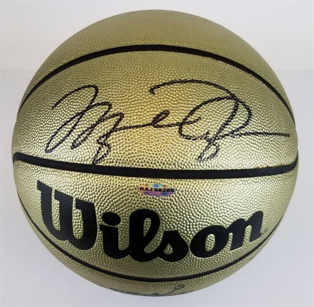 Michael Jordan Signed Lmt Ed. *Mr June* Wilson Gold NBA Basketball (UDA COA)