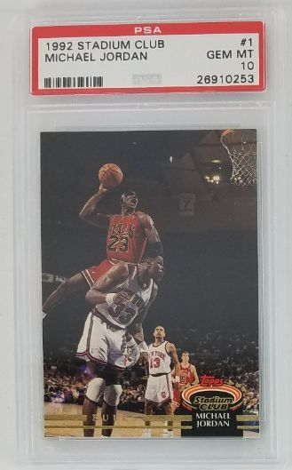 Michael Jordan Chicago Bulls 1992 Stadium Club Basketball Card #1 - Graded Gem Mint 10! (PSA)