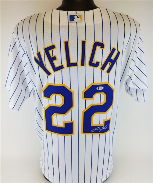 Christian Yelich Signed Milwaukee Brewers Majestic MLB CoolBase Jersey (Beckett Witness COA)