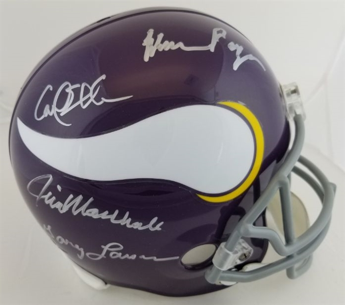 Purple People Eaters - Eller, Marshall, Larsen & Page - Signed Full Size Replica Vikings Helmet (Beckett Witness COA)