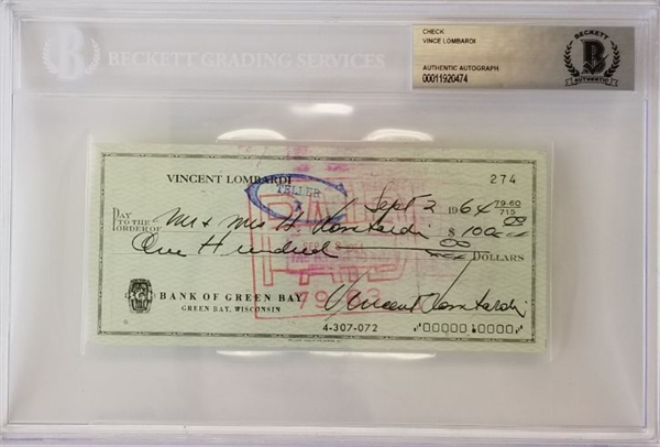 "Vince Lombardi Full Name ""Vincent Lombardi"" Signed 1964 Bank Check (Beckett Encapsulated)"