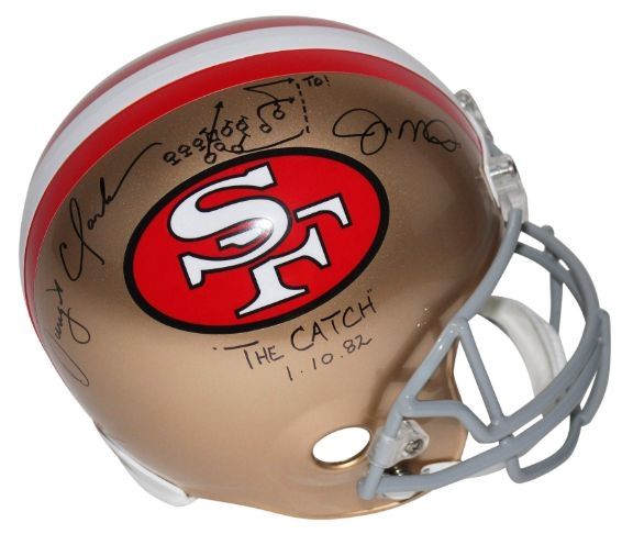 "Joe Montana & Dwight Clark (d.2018) ""The Catch"" & ""1-10-82"" Signed Full Size Replica San Francisco 49ers Helmet w/ Hand-Drawn TD Play (Beckett Witness COA)"
