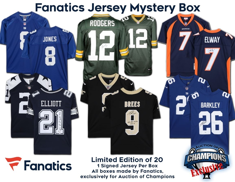 Fanatics Autographed Licensed Jersey Mystery Box - Brees, Rodgers, Elway, Elliott and more! - Limited to only 20!