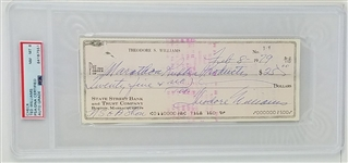 Theodore Williams (Ted Williams) Full Name Signature Signed 1979 Bank Check - Autograph Graded NM-MT 8 (PSA Encapsulated)