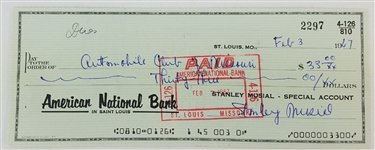 Stanley Musial (Stan Musial) Full Name Signature Signed 1967 Bank Check (JSA COA)
