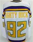 The Mighty Ducks Cast Signed Custom Hockey Jersey w/ 6 Sigs - (Beckett Witness COA)