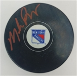 Mike Richter Signed New York Rangers Logo Hockey Puck (JSA COA)
