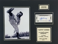 Lefty Gomez Signed New York Yankees Cut Signature in 14x18 Photo Matted Display (SOP COA)