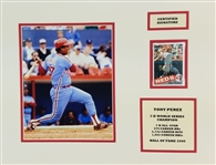 Tony Perez Signed Reds/Phillies Auto Card in 14x18 Photo Matted Display (JSA COA)