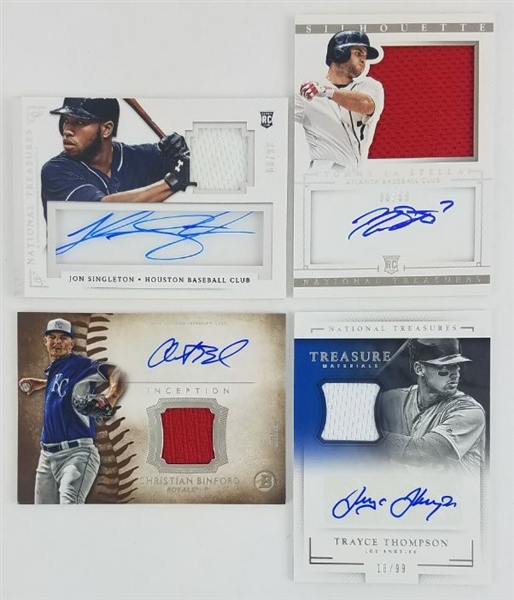 Lot of (4) Autograph Relic Baseball Cards - Inc. Trayce Thompson and Tommy LaStella