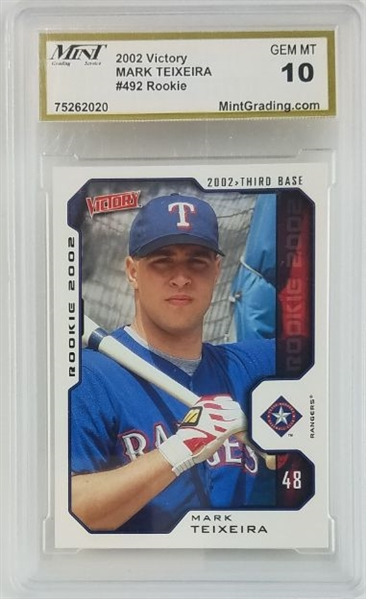 Mark Teixeira Texas Rangers 2002 UD Victory Rookie Baseball Card #492 - Graded Gem Mint 10! (MGS)