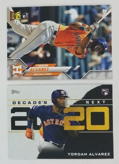 Lot of (2) Yordan Alvarez Houston Astros 2020 Topps Rookie Baseball Cards - Inc. Base and Decades Next