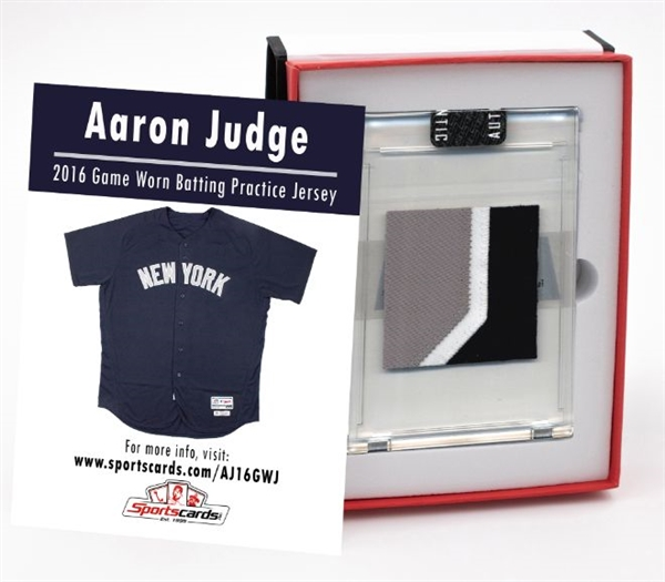 Aaron Judge 2016 NY Yankees Game Worn BP Jersey Mystery Swatch Box! Look For Patches, Team Letter, MLB Logo, Button, Tag Swatches & More!