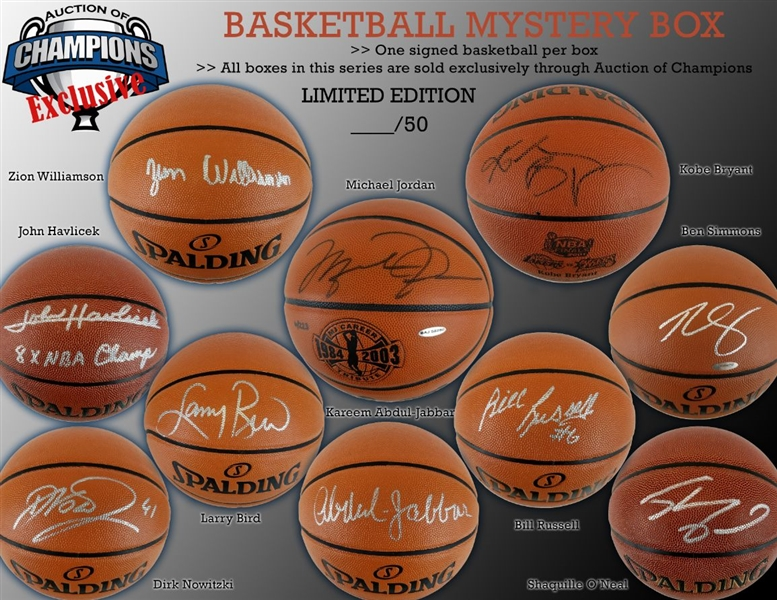 Autographed Basketball Mystery Box - Jordan, Kobe, Zion, Bird, Simmons, Russell & much more! Limited to only 50!