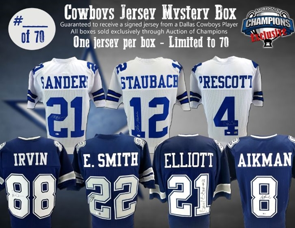 Dallas Cowboys Jersey Mystery Box- Emmitt, Zeke, Dak, Aikman, Staubach, Irvin, Deion & More! Limited to 70!