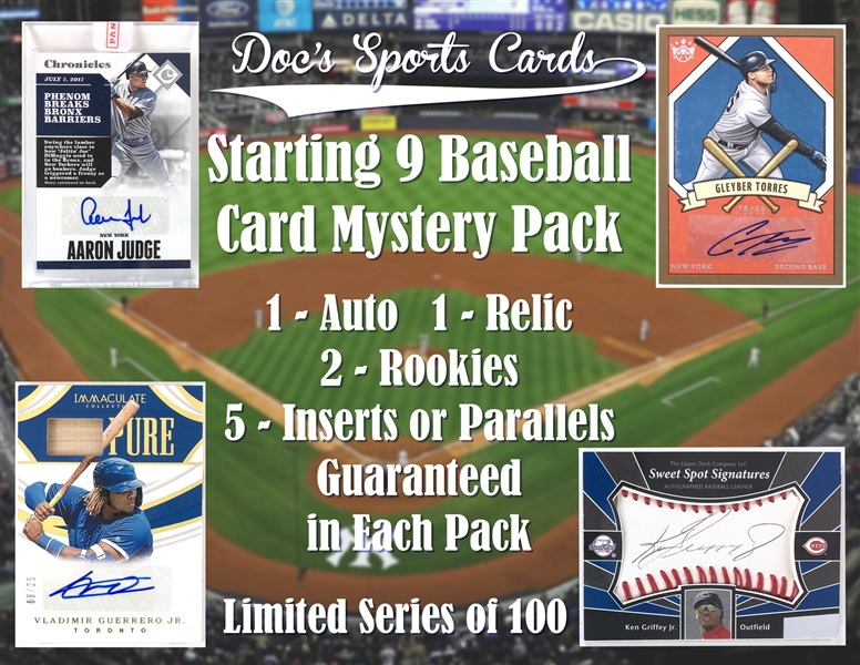 Starting 9 Baseball Card Mystery Pack - (1) Autograph and (1) Relic Per Pack!