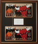 "Phil Jackson ""Best Wishes"" Signed Cut Signautre in Commemorative Chicago Bulls License Plates Framed Display (JSA COA)"
