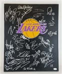Kareem Abdul-Jabbar, Magic Johnson, Shaquille ONeal, Tex Winter & Several Others Signed 16x20 Lakers Canvas w/ 29 Total Sigs (JSA LOA)