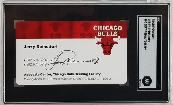 Jerry Reinsdorf (Bulls Owner) Signed Chicago Bulls Business Card (SGC Encapsulated)