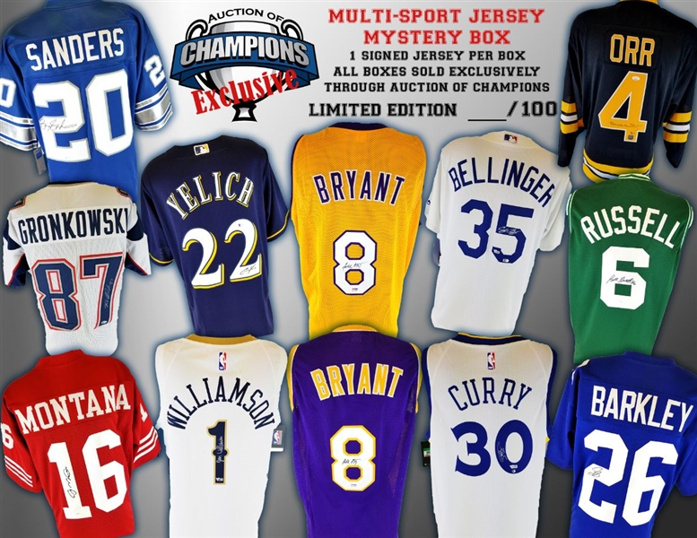Ultimate Multi-Sport Jersey Mystery Box - Kobe (x2), Zion, Bellinger, Yelich, Curry, B. Sanders, Orr and much more! - Limited to 100!