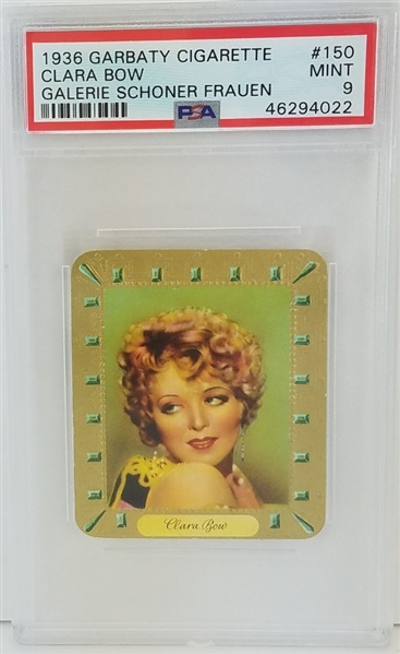 Clara Bow 1936 Garbaty Cigarette Galerie Schoner Fraun Tobacco Card - Graded Mint 9 (PSA) Pop 2 - Only 1 Higher!
