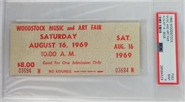 Authentic 1969 Woodstock Music and Art Fair One Day Ticket - Graded Mint 9 (PSA/DNA Encapsulated)