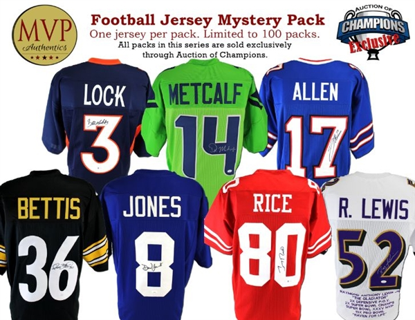 MVP Authentics Football Jersey Mystery Pack Series 2 - Limited to 100 - 1 Autographed Jersey Per Pack