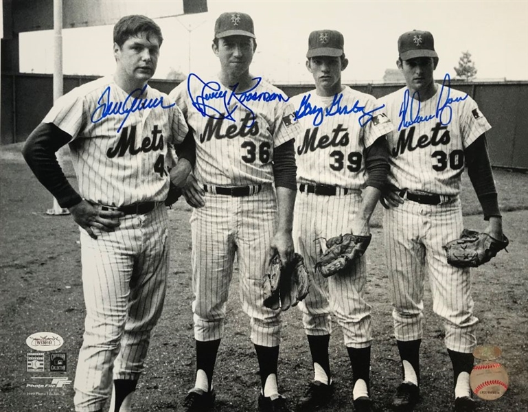 Nolan Ryan, Tom Seaver, Koosman & Gentry Signed 1969 Mets 11x14 Photo (JSA Witness COA)