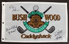 Chevy Chase, Cindy Morgan & Michael OKeefe Signed & Inscribed Caddyshack Golf Pin Flag (Beckett Witness COA)