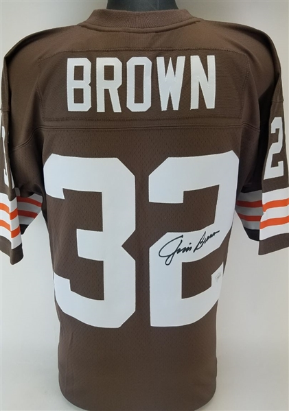 Jim Brown Signed Mitchell & Ness NFL Replica Collection 1963 Cleveland Browns Throwback Jersey (Fanatics Certified)