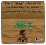 Magic Johnson Signed Michigan State Spartans 6x6 Floorboard Piece (Beckett Witness COA)