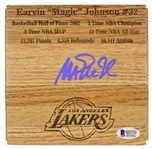 Magic Johnson Signed Los Angeles Lakers 6x6 Floorboard Piece w/ Engraved Career Stats - Purple Signature (Beckett Witness COA)