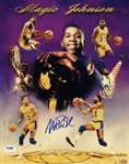 Magic Johnson Signed Lmt Ed. Los Angeles Lakers Career Collage 11x14 Photo (PSA/DNA COA)