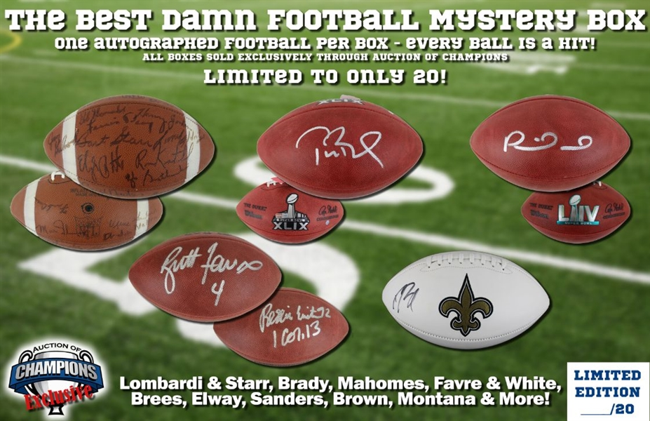 The Best Damn Football Mystery Box - Limited to ONLY 20! - Look for Brady SB 49, Mahomes SB 54, Lombardi + Starr, Favre + White & More Hits!