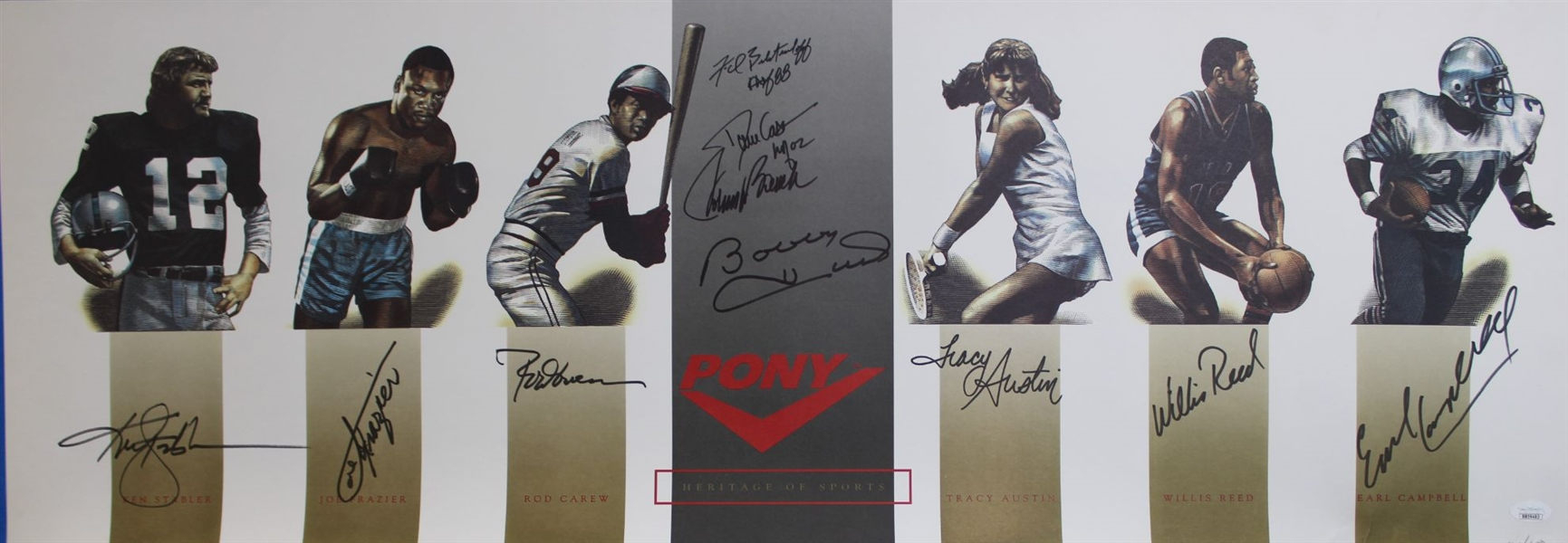 Ken Stabler, Earl Campbell, Joe Frazier, Willis Reed, Rod Carew, Johnny Bench & Others (10 Total) Signed Lmt Ed. Heritage of Sports 13x37 Lithograph (JSA LOA)