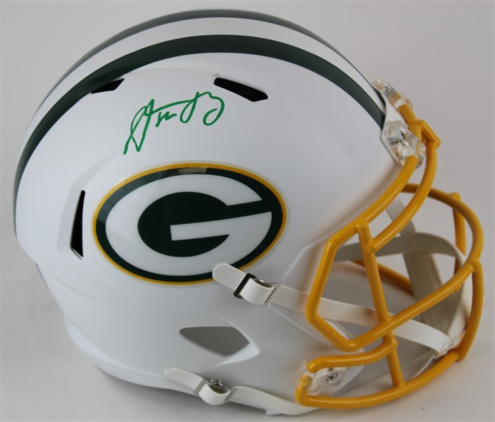 Aaron Rodgers Signed Full Size Replica Green Bay Packers Flat White Speed Helmet w/ Fanatics Bag (Fanatics Certified)