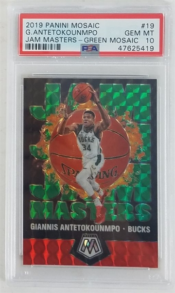 Giannis Antetokounmpo Milwaukee Bucks 2019 Panini Mosaic Jam Masters Green Mosaic Basketball Card #19 - Graded Gem Mint 10! (PSA)