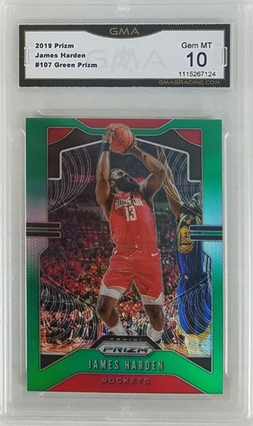 James Harden Houston Rockets 2019 Panini Prizm Green Prizm Basketball Card #107 - Graded Gem Mint 10! (GMA)