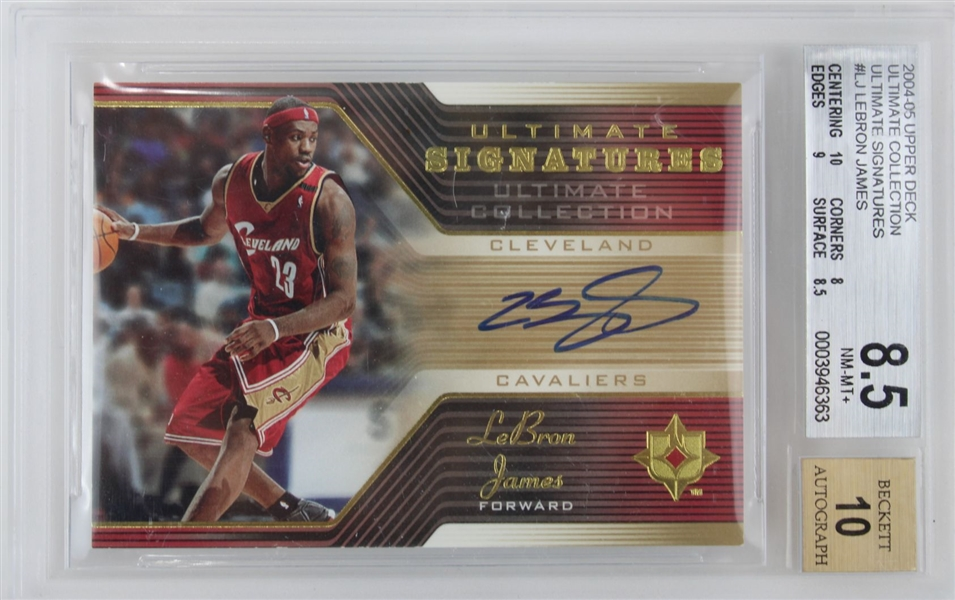 LeBron James Signed 2004-05 Upper Deck Ultimate Signatures #LJ 2nd Year Card **Card Graded NM-MT+ 8.5 & Auto Graded 10!** (BGS)
