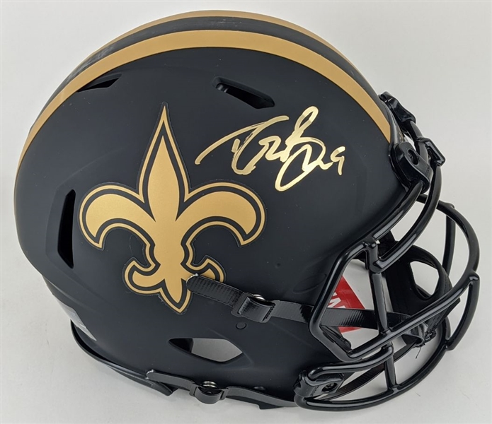 Drew Brees Signed Full Size Authentic New Orleans Saints Eclipse Alternate Helmet (Beckett Witness COA)