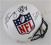 Peyton Manning, Eli Manning & Archie Manning Signed Full Size Replica NFL Shield Helmet (Fanatics Certified)
