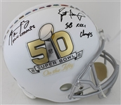 "Aaron Rodgers ""XLV Champs"" & Brett Favre ""SB XXXI Champs"" Dual Signed Full Size Replica On The Fifty Super Bowl 50 Helmet (Fanatics Certified)"